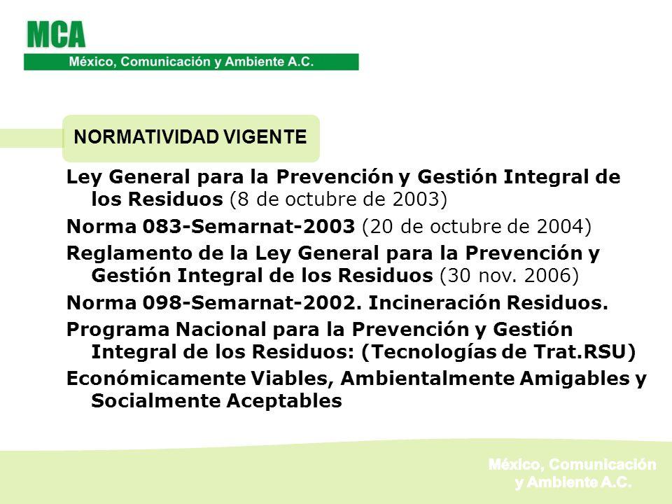 NORMATIVIDAD VIGENTE Ley General para la Prevención y Gestión Integral de los Residuos (8 de octubre de 2003)