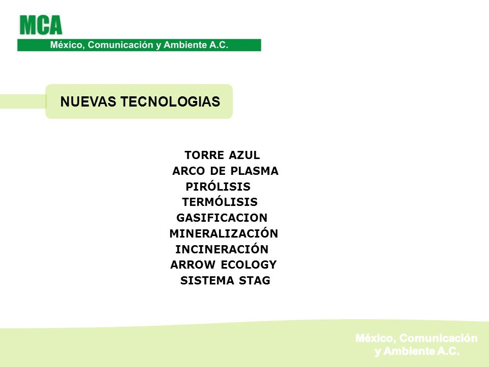 NUEVAS TECNOLOGIAS México, Comunicación y Ambiente A.C. TORRE AZUL