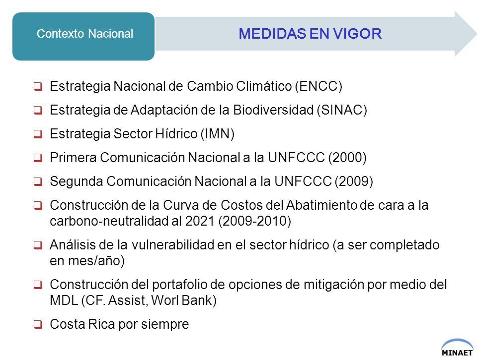 MEDIDAS EN VIGOR Estrategia Nacional de Cambio Climático (ENCC)
