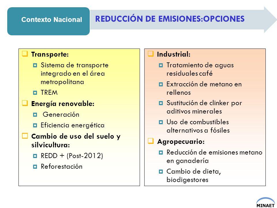 REDUCCIÓN DE EMISIONES:OPCIONES