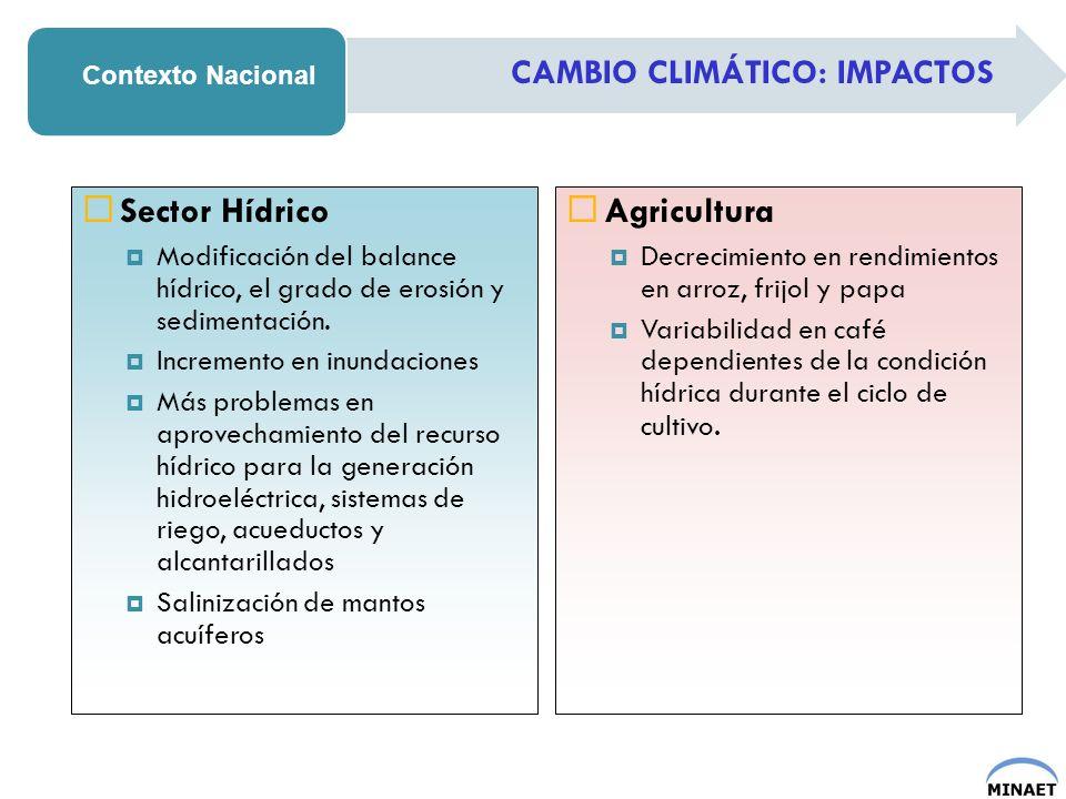 Sector Hídrico Agricultura CAMBIO CLIMÁTICO: IMPACTOS