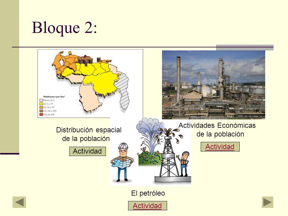 Bloque 2: Actividades Económicas Distribución espacial de la población