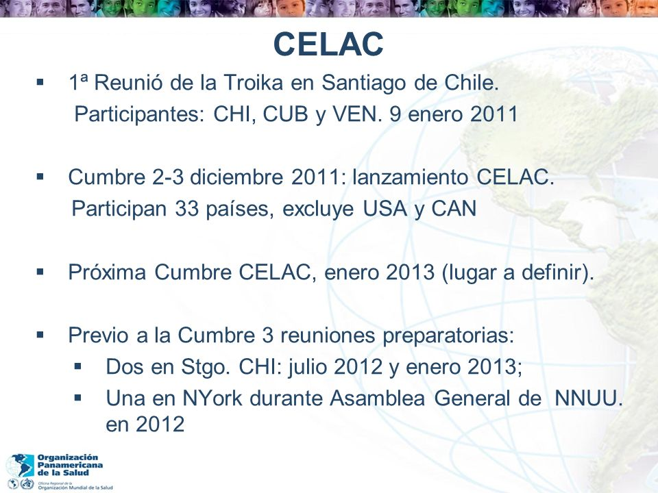 CELAC 1ª Reunió de la Troika en Santiago de Chile.