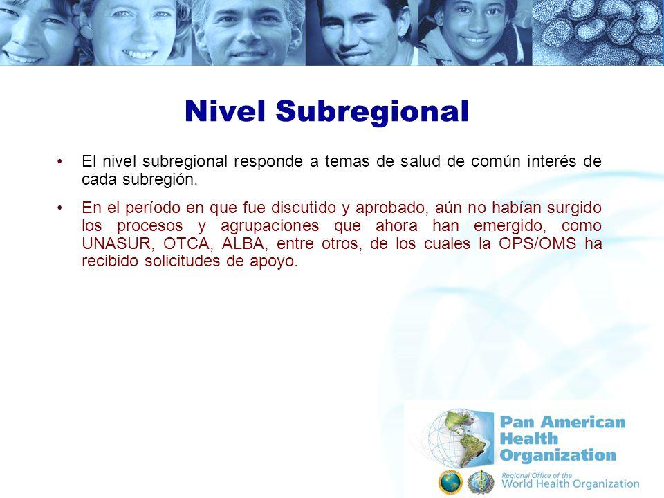 Nivel Subregional El nivel subregional responde a temas de salud de común interés de cada subregión.