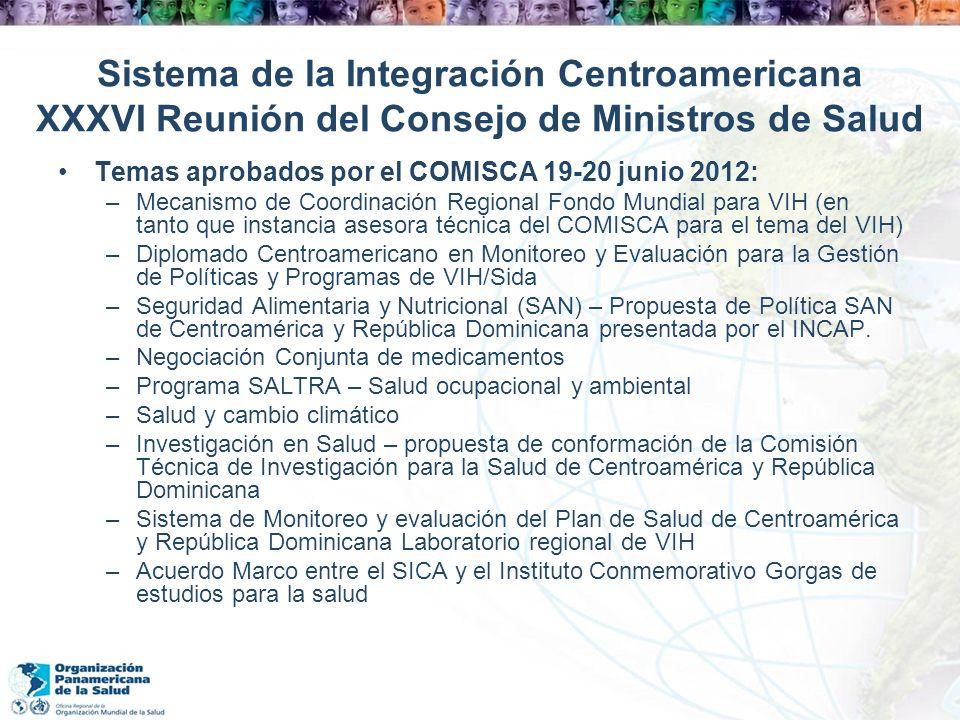 Sistema de la Integración Centroamericana XXXVI Reunión del Consejo de Ministros de Salud