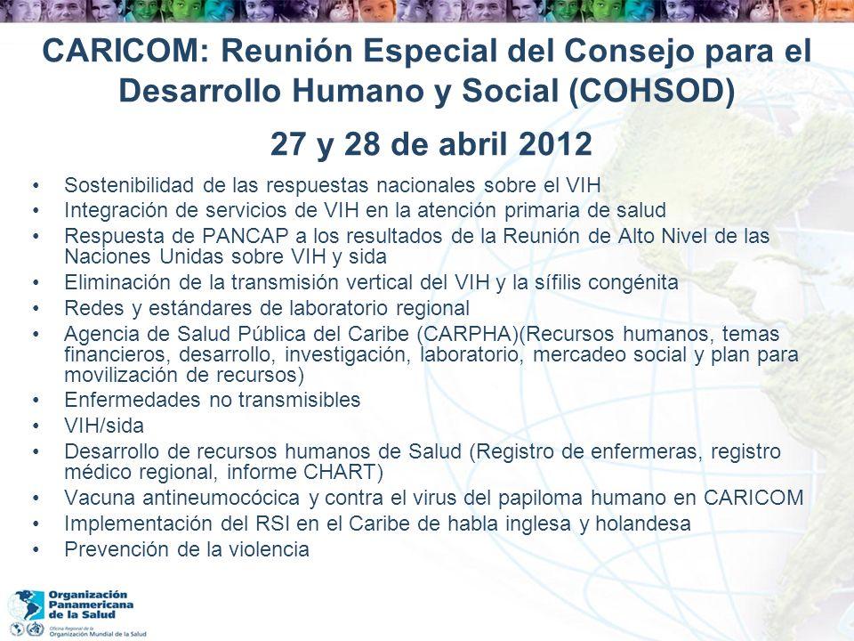 CARICOM: Reunión Especial del Consejo para el Desarrollo Humano y Social (COHSOD) 27 y 28 de abril 2012