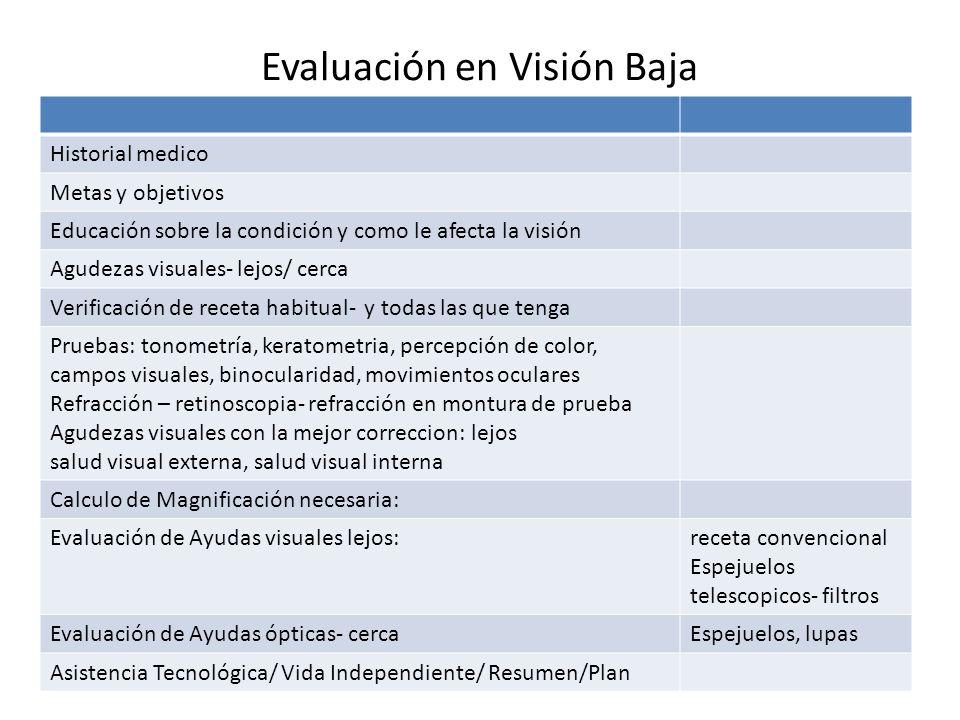 Evaluación en Visión Baja