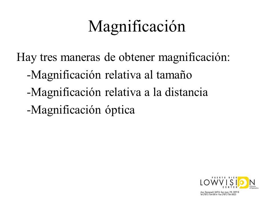Magnificación Hay tres maneras de obtener magnificación: