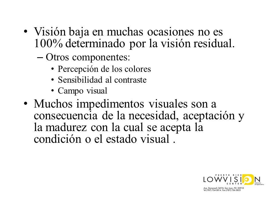 Visión baja en muchas ocasiones no es 100% determinado por la visión residual.