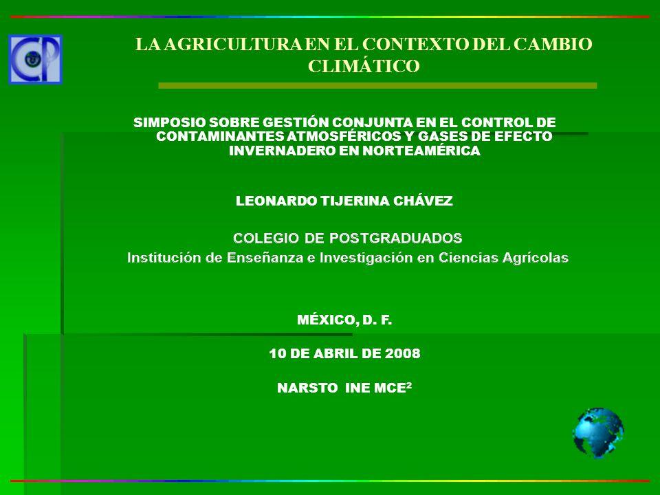 LA AGRICULTURA EN EL CONTEXTO DEL CAMBIO CLIMÁTICO