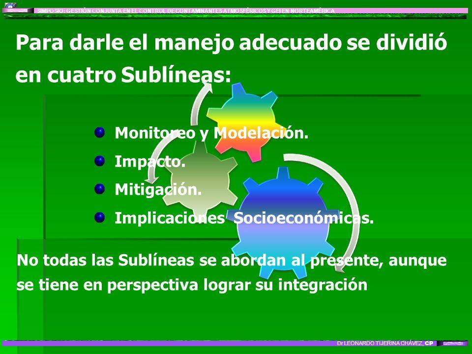 Para darle el manejo adecuado se dividió en cuatro Sublíneas: