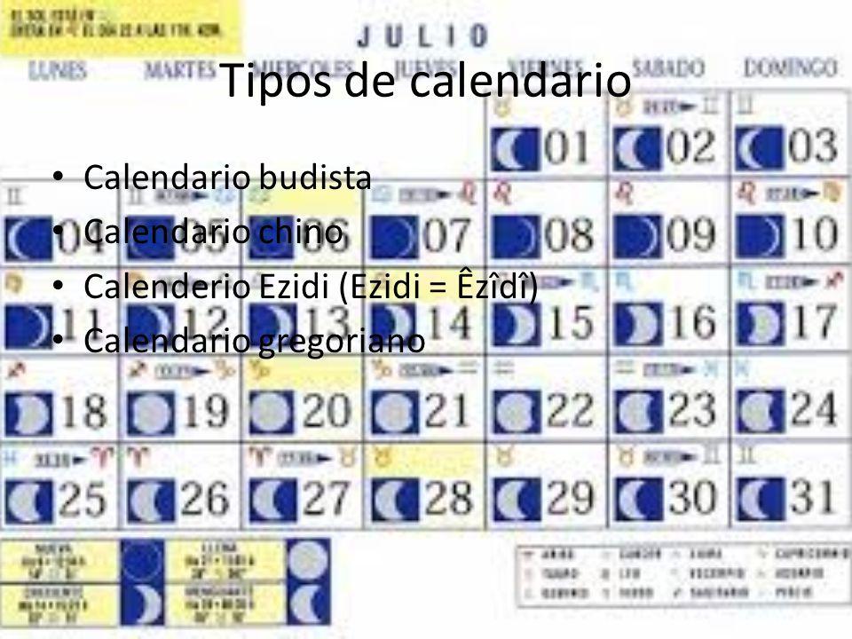 Tipos de calendario Calendario budista Calendario chino