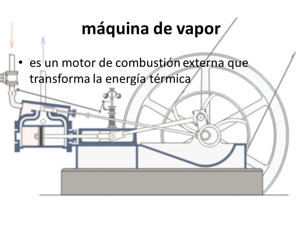 máquina de vapor es un motor de combustión externa que transforma la energía térmica