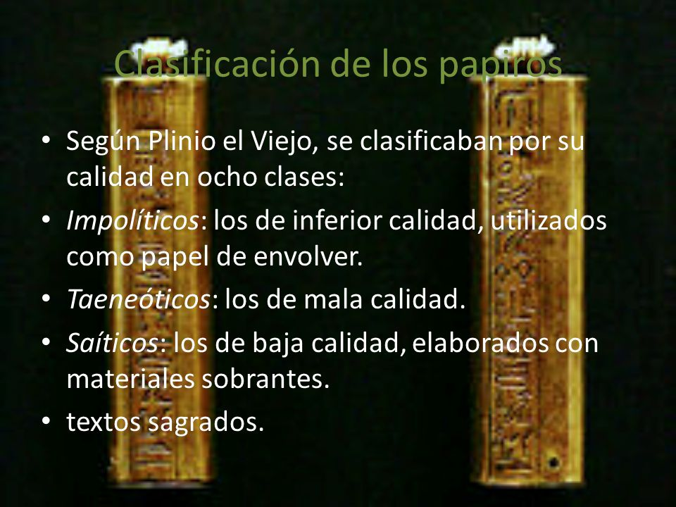 Clasificación de los papiros