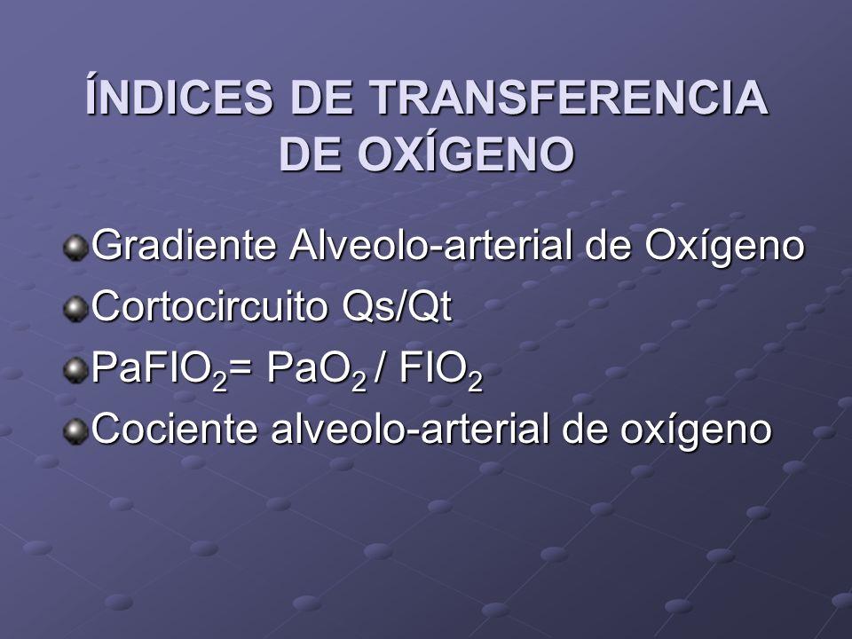 ÍNDICES DE TRANSFERENCIA DE OXÍGENO