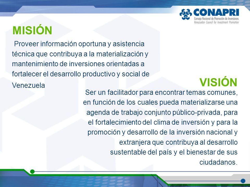 Proveer información oportuna y asistencia técnica que contribuya a la materialización y mantenimiento de inversiones orientadas a fortalecer el desarrollo productivo y social de Venezuela