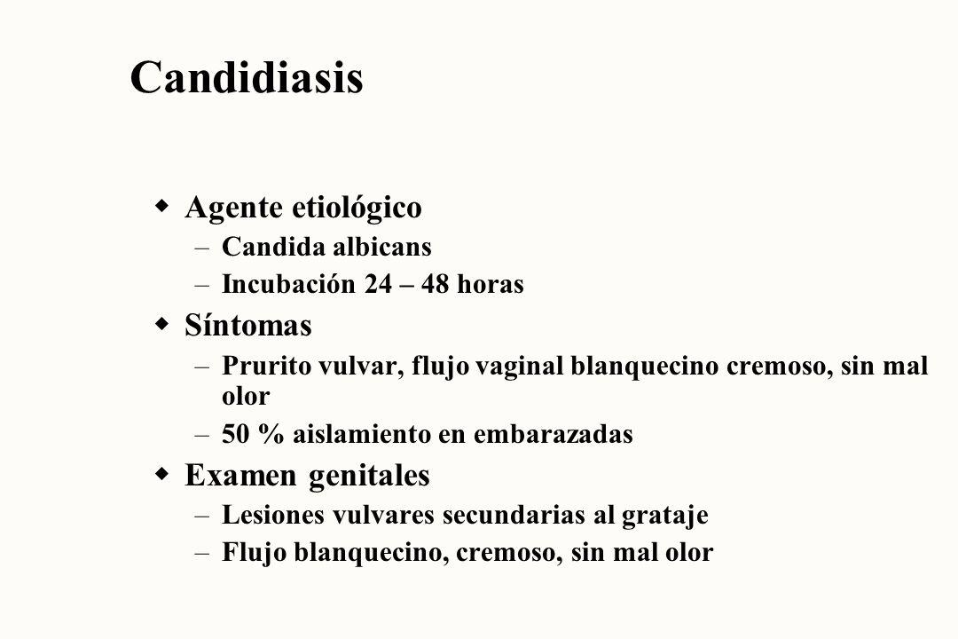 Candidiasis Agente etiológico Síntomas Examen genitales