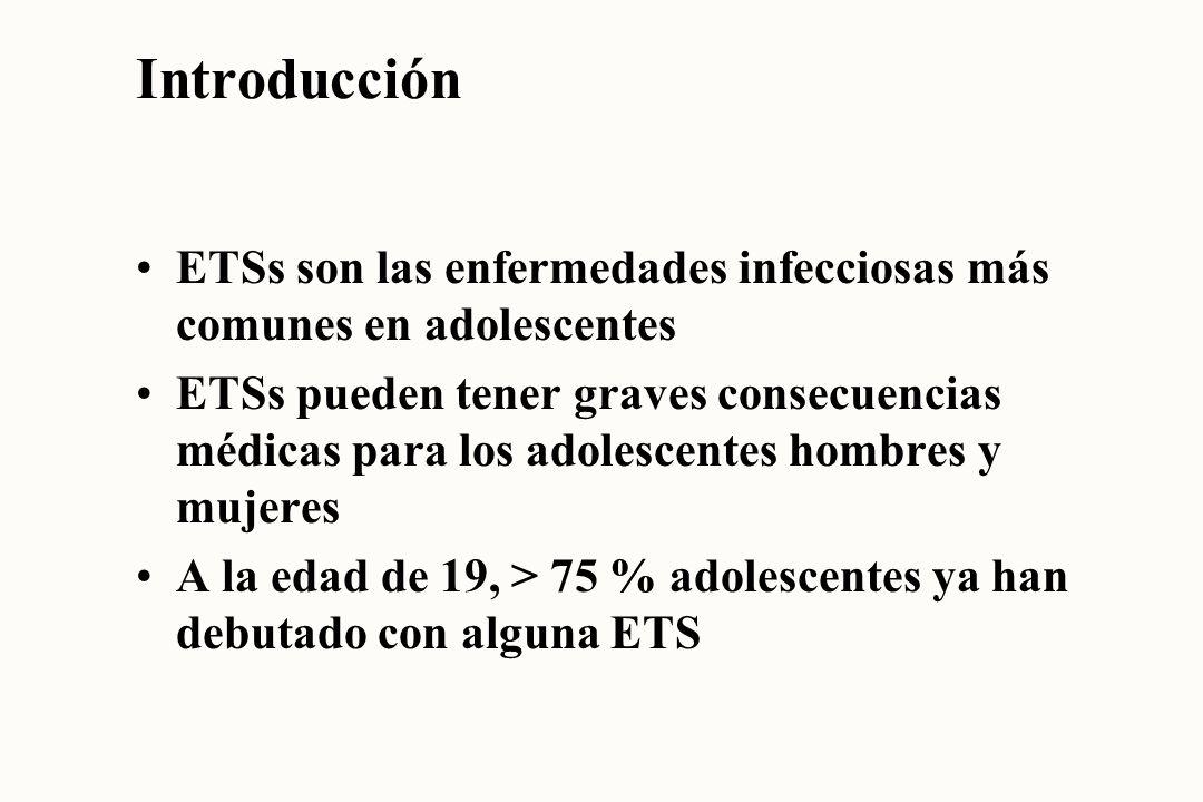 Introducción ETSs son las enfermedades infecciosas más comunes en adolescentes.