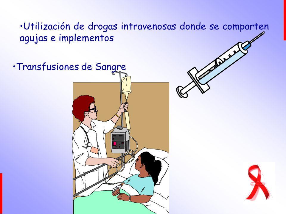 Utilización de drogas intravenosas donde se comparten agujas e implementos