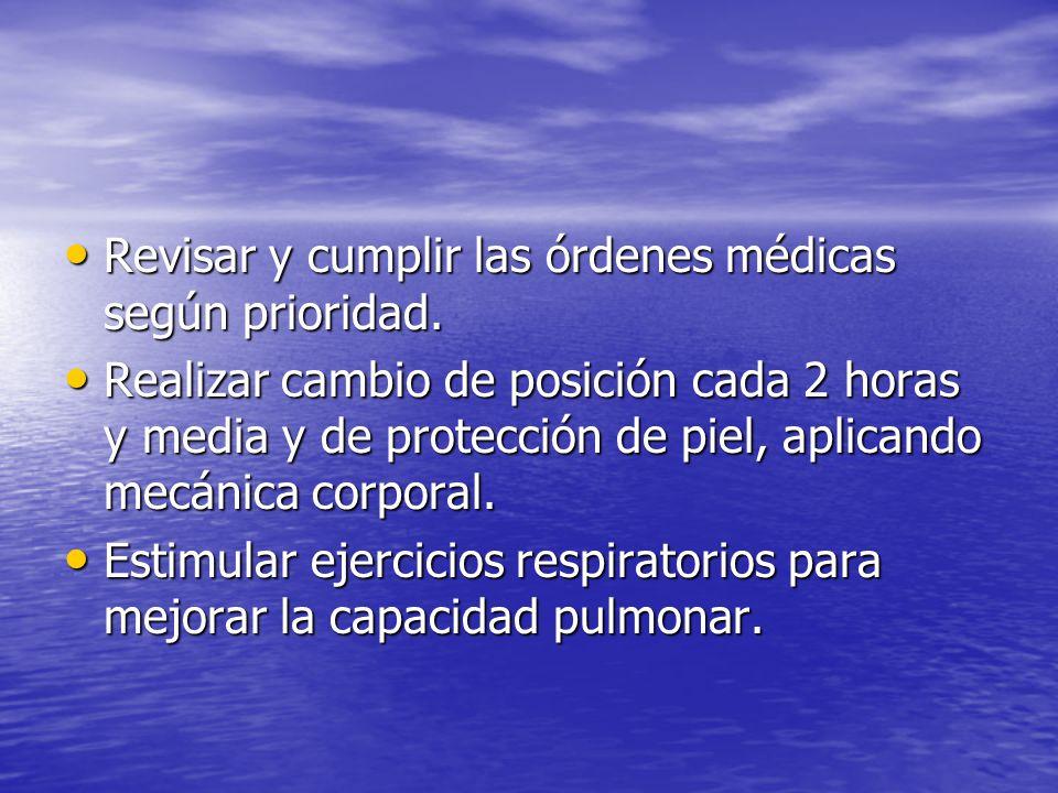 Revisar y cumplir las órdenes médicas según prioridad.
