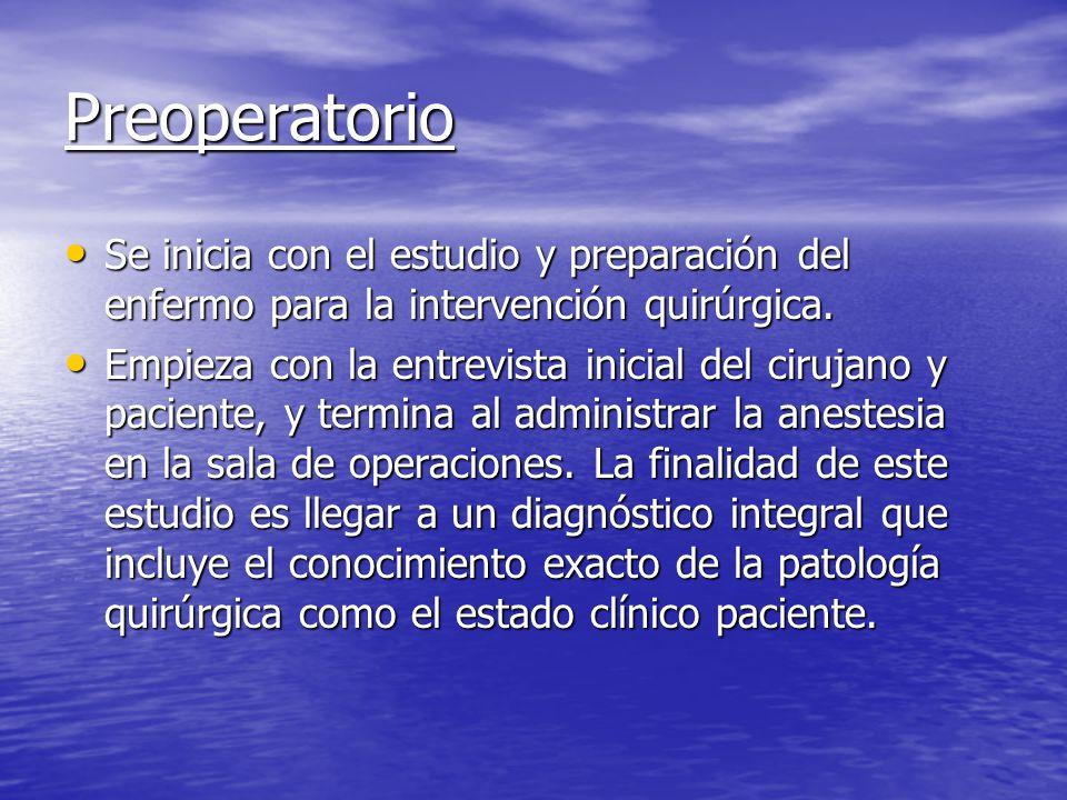 Preoperatorio Se inicia con el estudio y preparación del enfermo para la intervención quirúrgica.