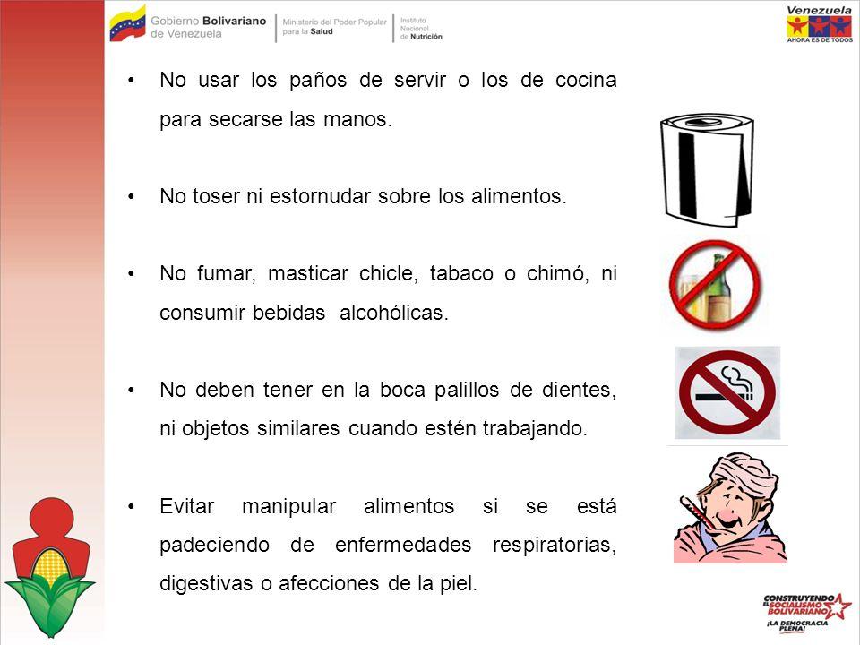No usar los paños de servir o los de cocina para secarse las manos.