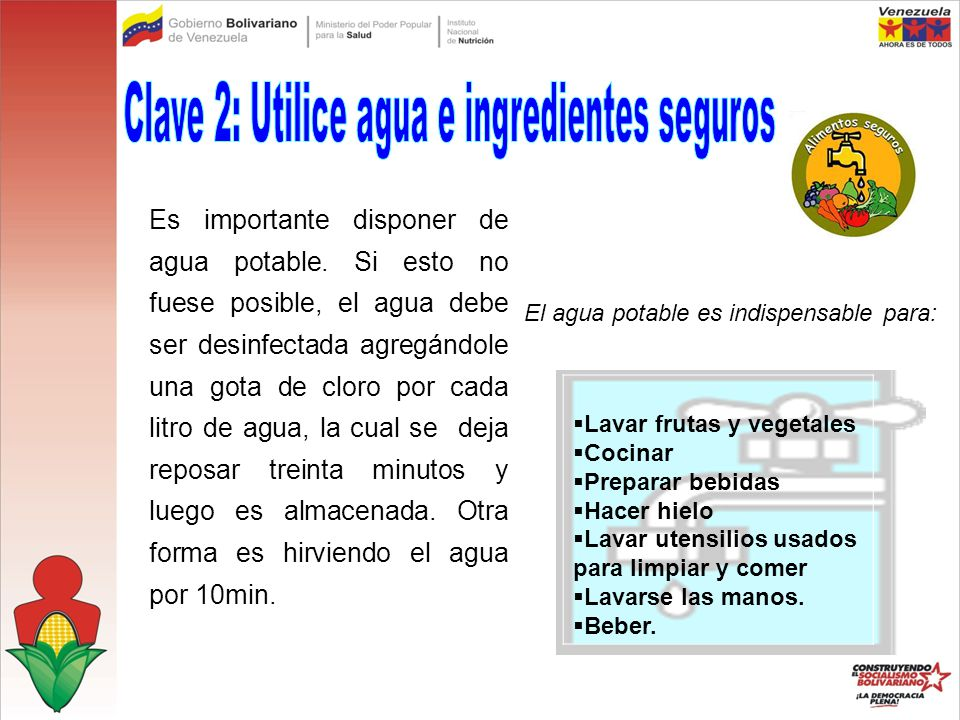 Clave 2: Utilice agua e ingredientes seguros