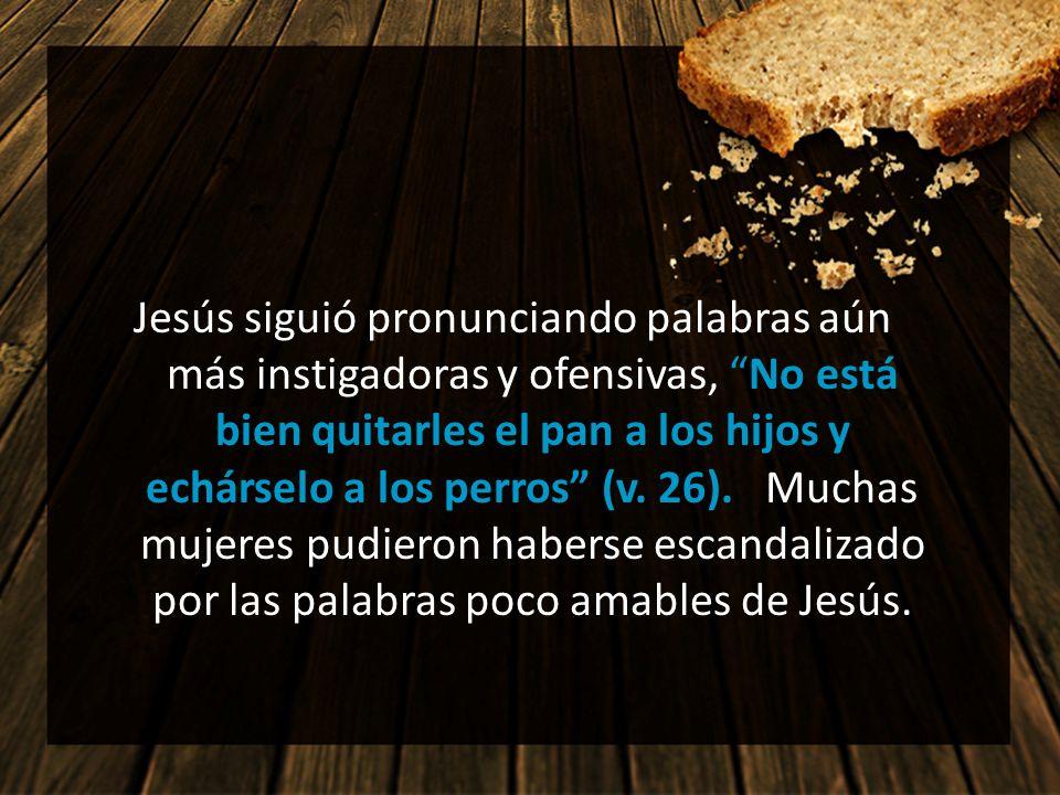 Jesús siguió pronunciando palabras aún más instigadoras y ofensivas, No está bien quitarles el pan a los hijos y echárselo a los perros (v. 26). Muchas mujeres pudieron haberse escandalizado por las palabras poco amables de Jesús.