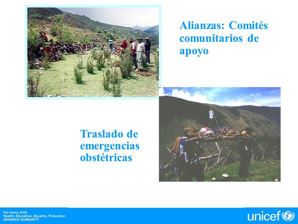 Alianzas: Comités comunitarios de apoyo Traslado de emergencias obstétricas