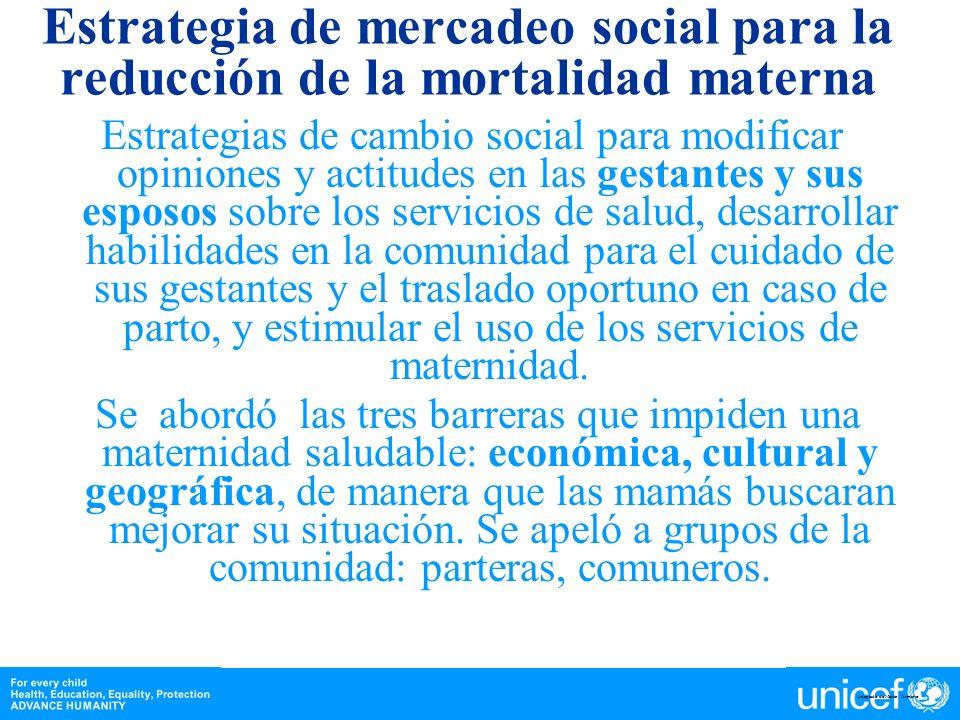 Estrategia de mercadeo social para la reducción de la mortalidad materna
