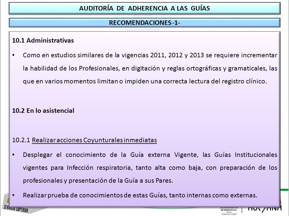 AUDITORÍA DE ADHERENCIA A GUÍAS: Medicina y Terapia Respiratoria ...