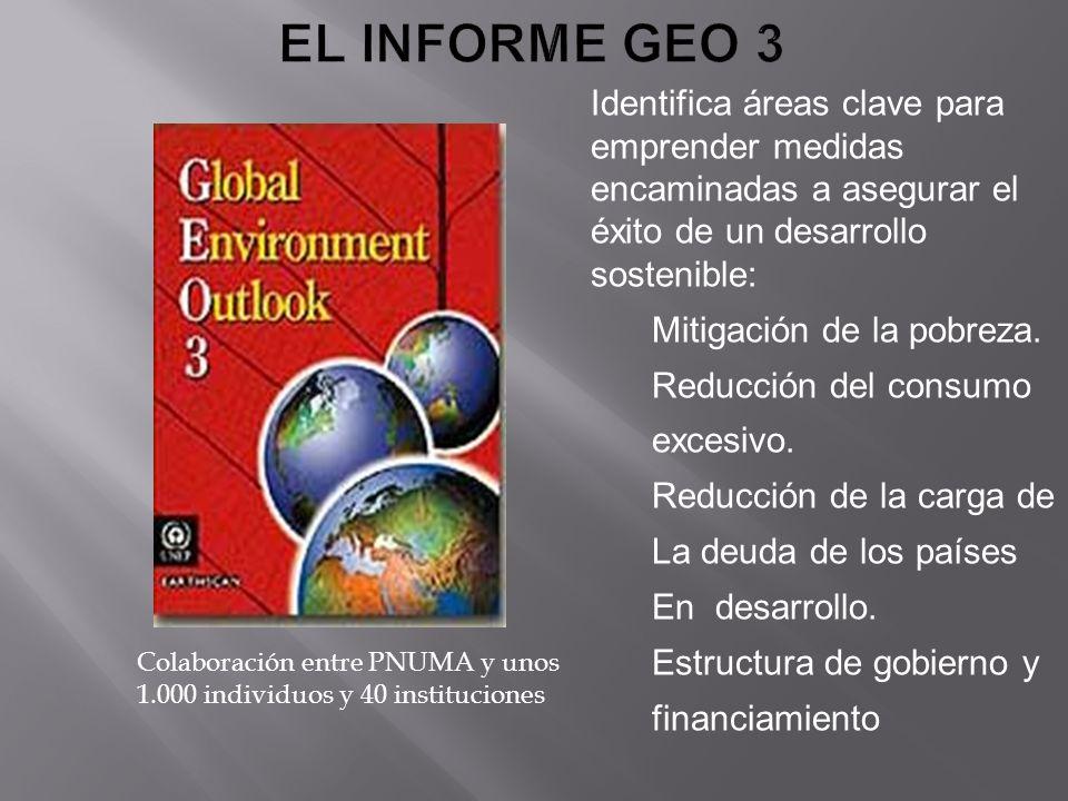 EL INFORME GEO 3 Identifica áreas clave para emprender medidas encaminadas a asegurar el éxito de un desarrollo sostenible: