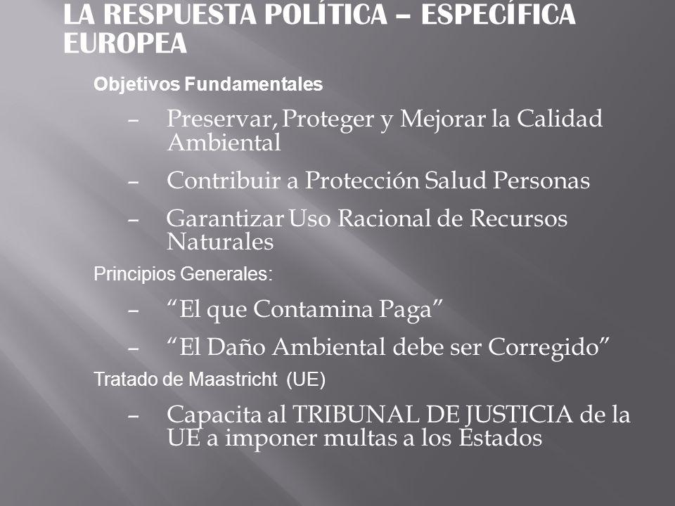 LA RESPUESTA POLÍTICA – ESPECÍFICA EUROPEA