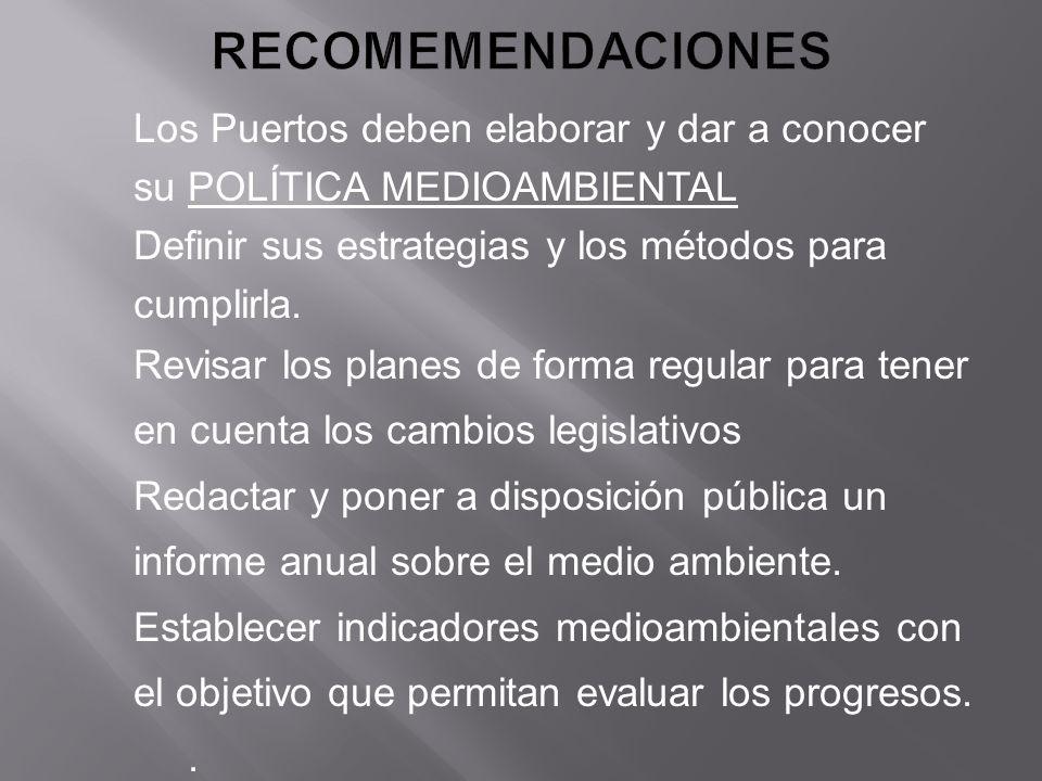 RECOMEMENDACIONES Los Puertos deben elaborar y dar a conocer