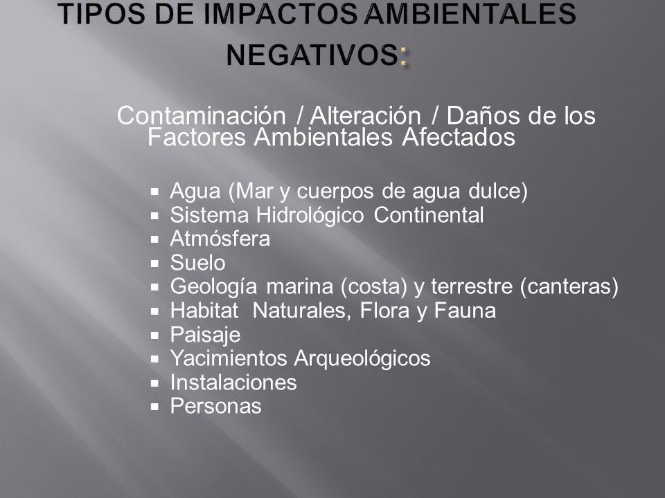 TIPOS DE IMPACTOS AMBIENTALES NEGATIVOS: