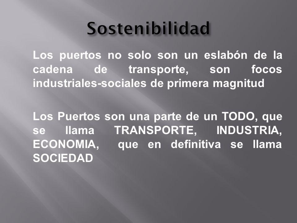 Sostenibilidad Los puertos no solo son un eslabón de la cadena de transporte, son focos industriales-sociales de primera magnitud.
