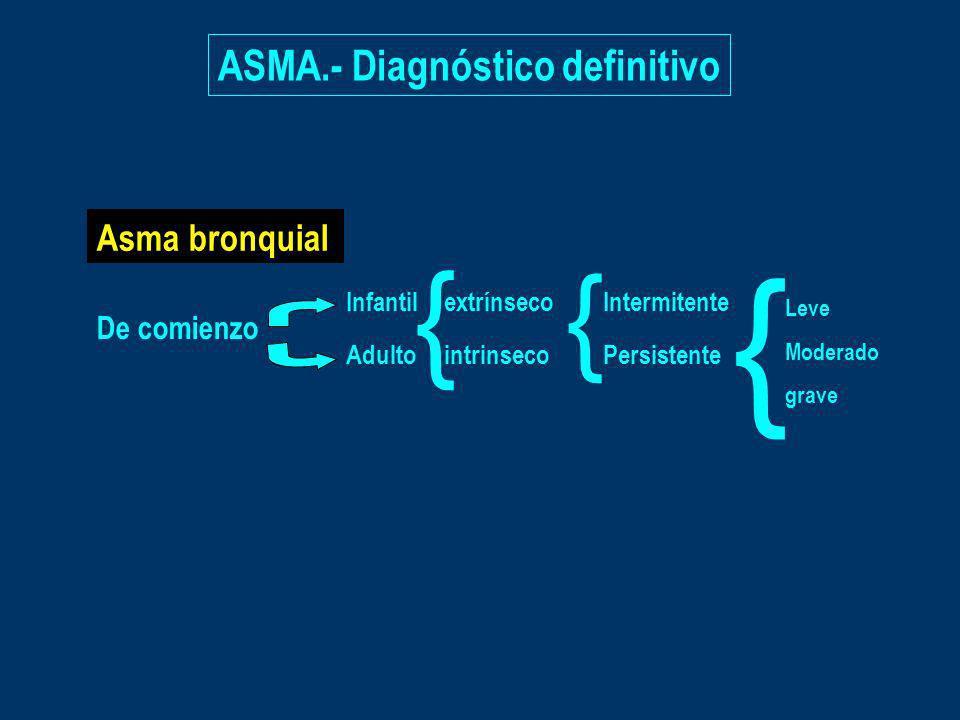 { { { ASMA.- Diagnóstico definitivo Asma bronquial De comienzo