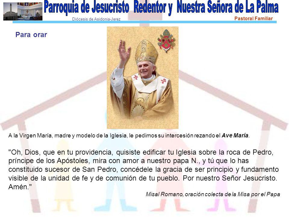 Para orar A la Virgen María, madre y modelo de la Iglesia, le pedimos su intercesión rezando el Ave María.