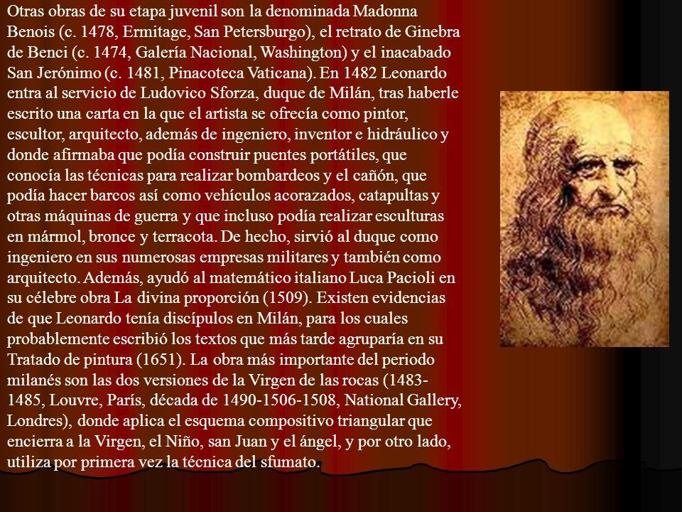 Otras obras de su etapa juvenil son la denominada Madonna Benois (c