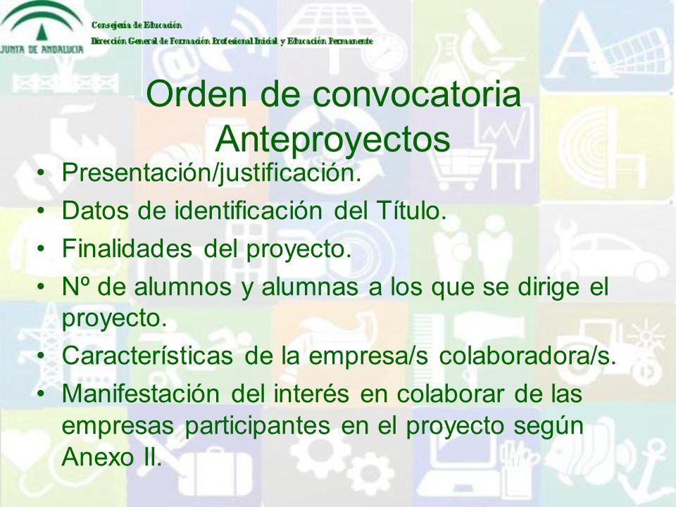 Orden de convocatoria Anteproyectos