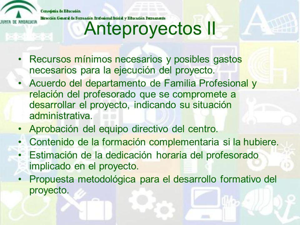 Anteproyectos IIRecursos mínimos necesarios y posibles gastos necesarios para la ejecución del proyecto.