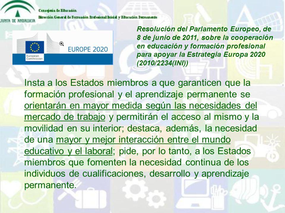 Resolución del Parlamento Europeo, de 8 de junio de 2011, sobre la cooperación en educación y formación profesional para apoyar la Estrategia Europa 2020 (2010/2234(INI))