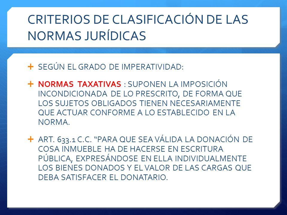 CRITERIOS DE CLASIFICACIÓN DE LAS NORMAS JURÍDICAS