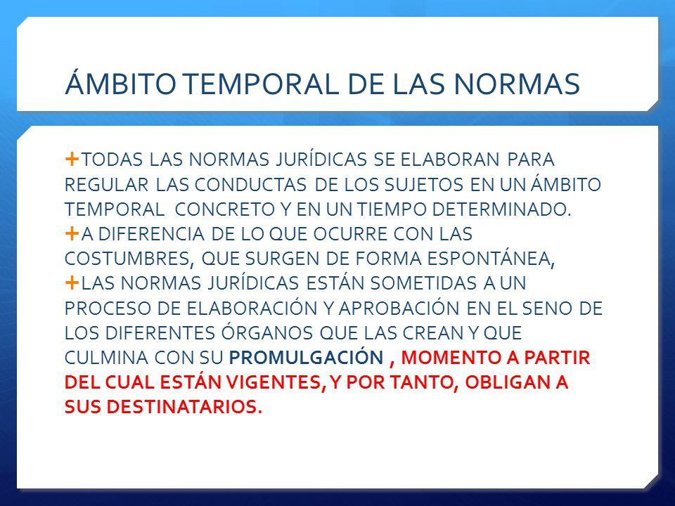 ÁMBITO TEMPORAL DE LAS NORMAS