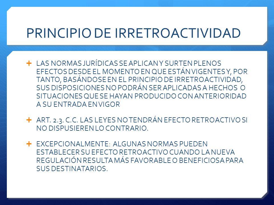 PRINCIPIO DE IRRETROACTIVIDAD