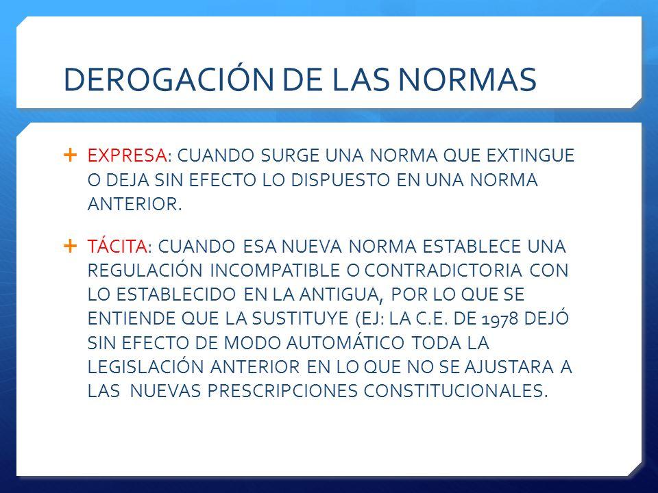 DEROGACIÓN DE LAS NORMAS