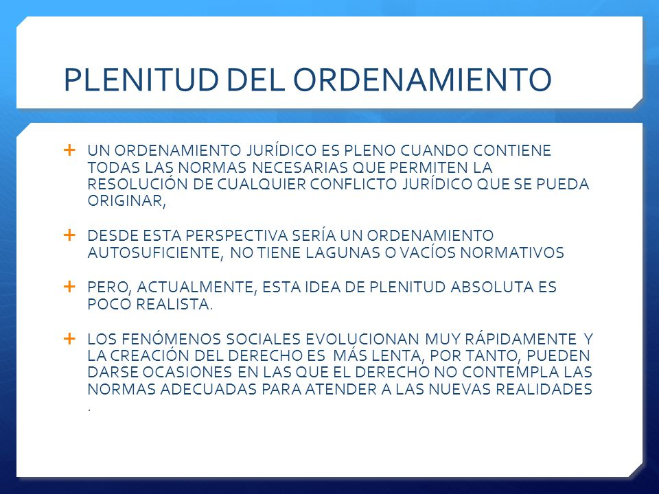 PLENITUD DEL ORDENAMIENTO