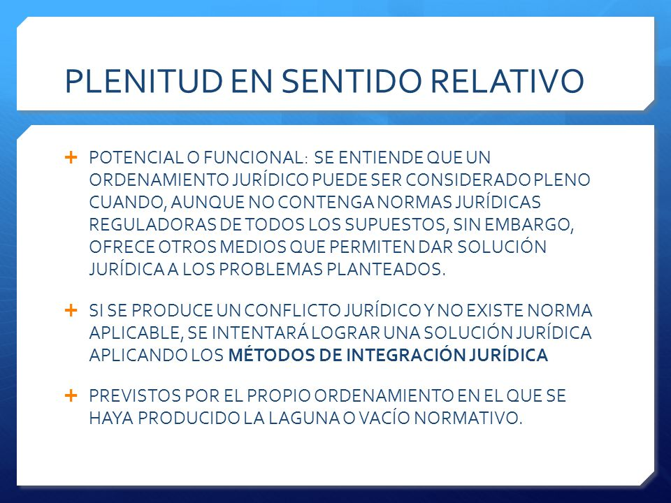 PLENITUD EN SENTIDO RELATIVO