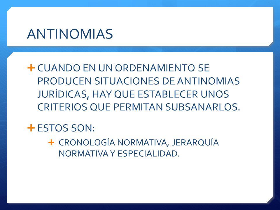 ANTINOMIAS CUANDO EN UN ORDENAMIENTO SE PRODUCEN SITUACIONES DE ANTINOMIAS JURÍDICAS, HAY QUE ESTABLECER UNOS CRITERIOS QUE PERMITAN SUBSANARLOS.