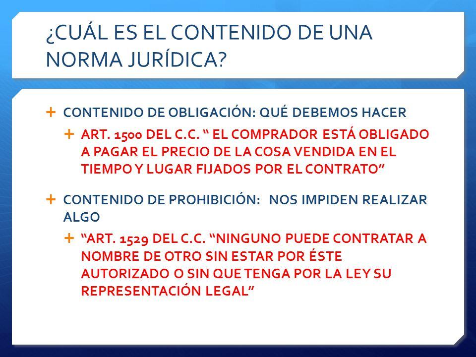¿CUÁL ES EL CONTENIDO DE UNA NORMA JURÍDICA